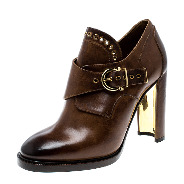 Salvatore Ferragamo Brown Leather Nevers Buckle Detail Boots Size 39