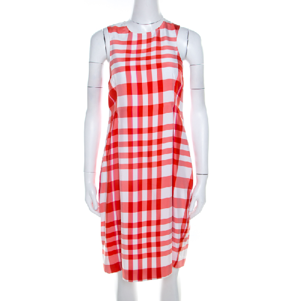 Stella Mccartney Chilli Red Checked Sleeveless Benedicte Shift Dress S