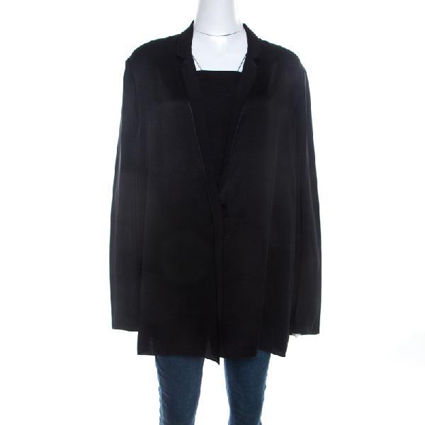Lanvin Black Satin Snap Button Tailored Jacket L