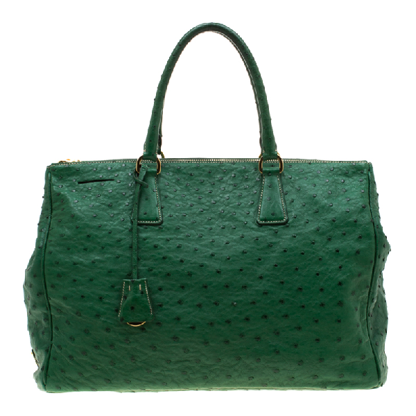 Prada Green Ostrich Large Double Zip Tote