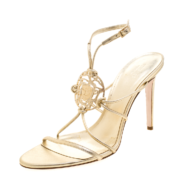 Versace Metallic Gold Leather Crystal Studded Medusa Strappy Sandals Size 41