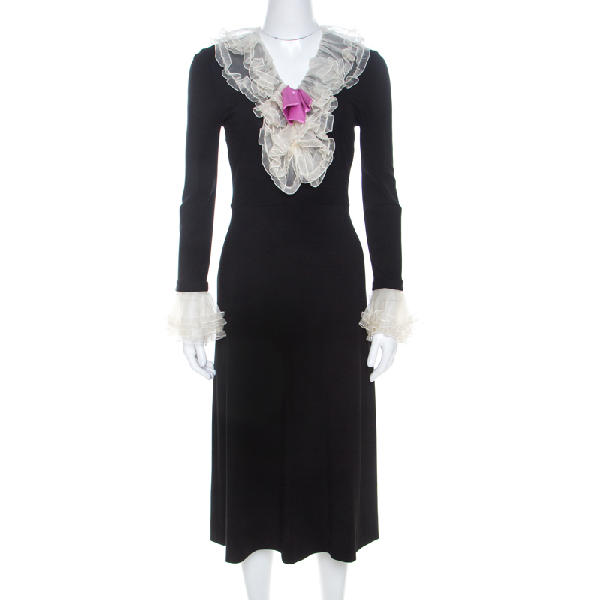 Gucci Black Stretch Crepe Ruffled V-neck Dress Xs