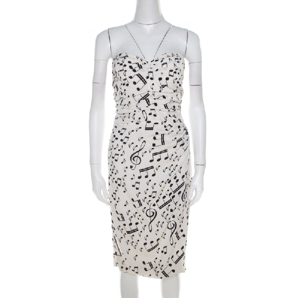 Dolce & Gabbana Dolce And Gabbana White And Black Musical Note Printed Silk Strapless Dress S