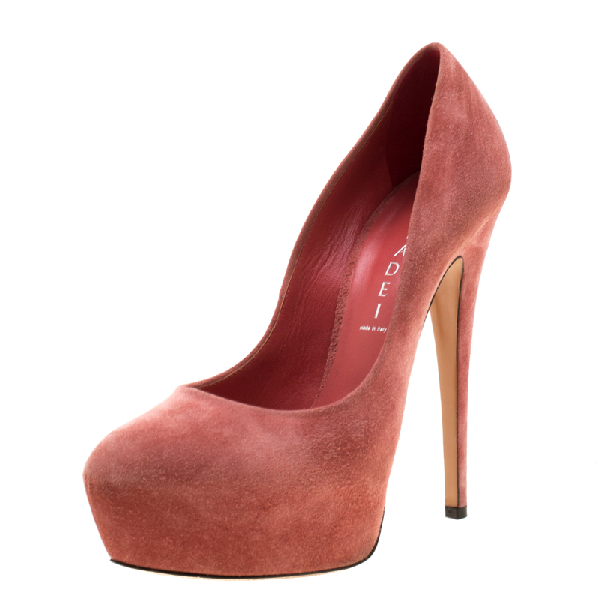 Casadei Pink Suede Platform Pumps Size 38.5