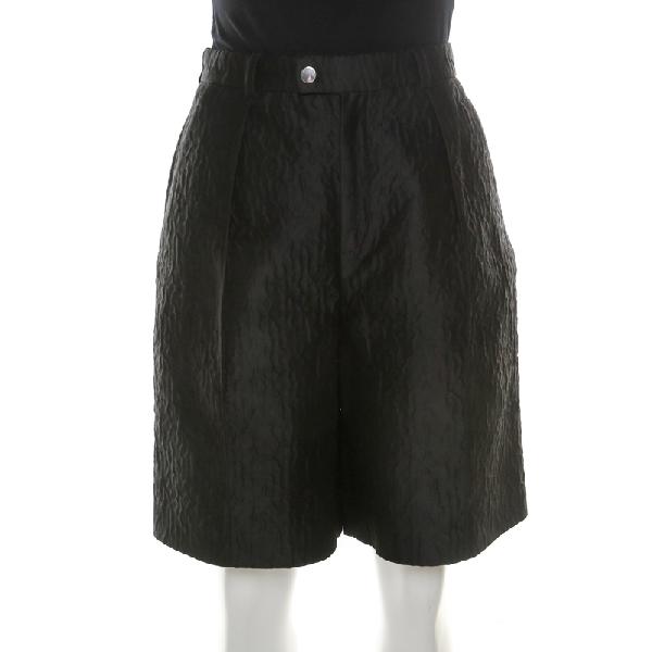 Carven Black Textured High Waist Cloque Shorts M