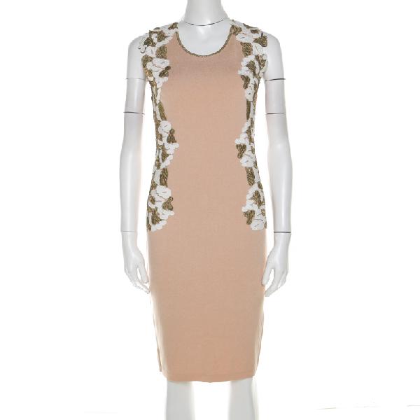 Blumarine Beige Knit Gold Embroidered Detail Dress M