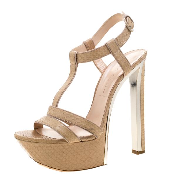 Casadei Beige Python Leather T Starp Platform Sandals 39