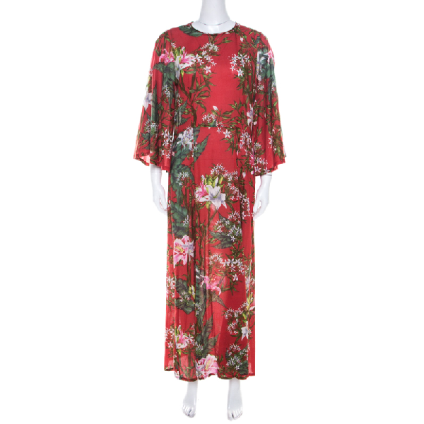 Isabel Marant Etoile Red Floral Print Cotton Voile Maxi Dress S