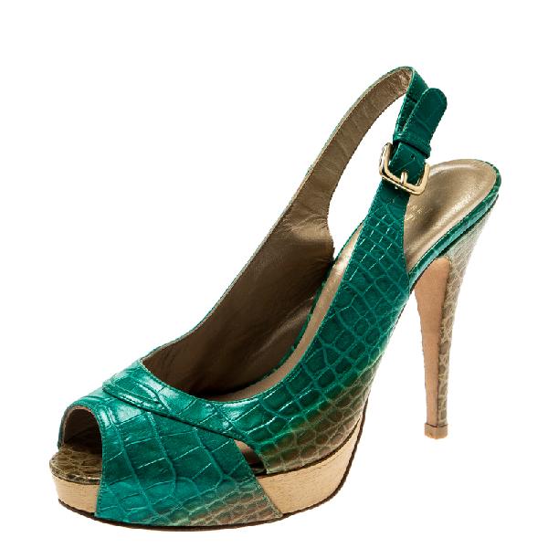 Stuart Weitzman Green Degradè Croc Embossed Leather Peep Toe Platform Slingback Sandals Size 39.5