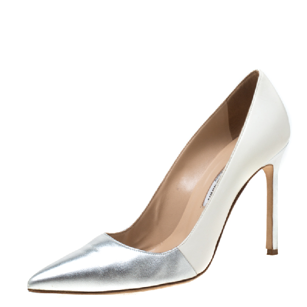 Manolo Blahnik Metallic Silver And White Leather Bb Pointed Toe Pumps Size 39