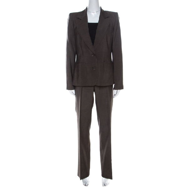 Barbara Bui Brown Wool Blend Zip Detail Pant Suit L