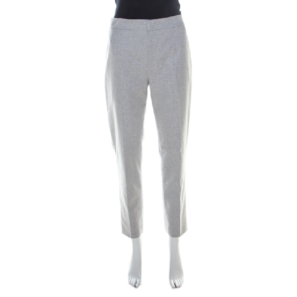 Jil Sander Grey Wool Blend Felt Tapered Trousers M