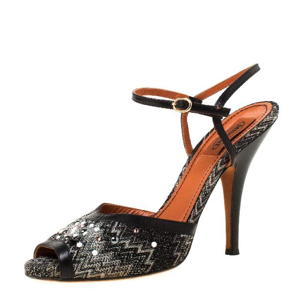 Missoni Black Embellished Patterned Knit Ankle Strap Sandals Size 40