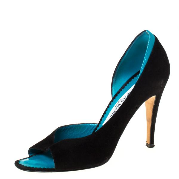 Manolo Blahnik Monolo Blahnik Black/turquoise Suede D' Orsay Peep Toe Pumps Size 35