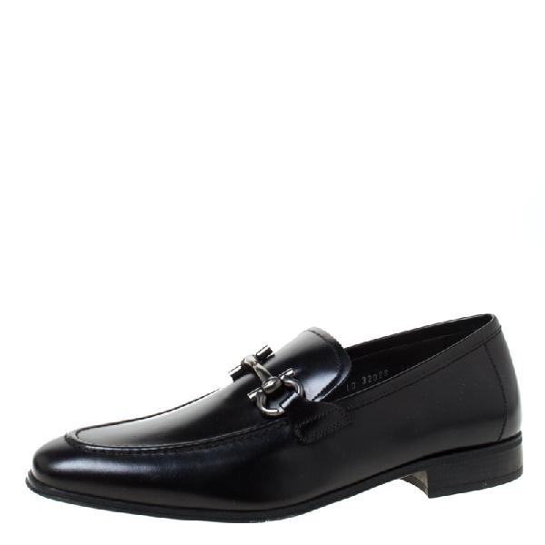 Salvatore Ferragamo Black Signature Leather Gancio Bit Loafers Size 36