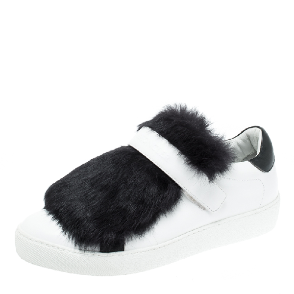 Moncler White/black Leather And Fur Low Top Sneakers Size 38