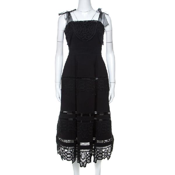 Self-portrait Black Lace Tie Shoulder Dress S