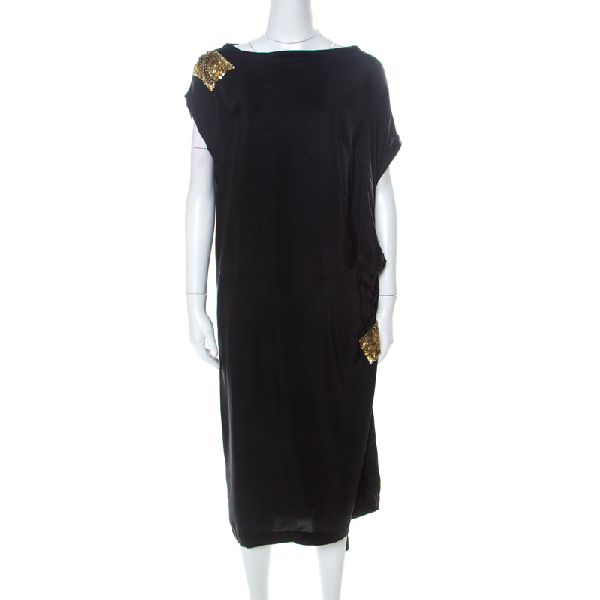 Dries Van Noten Black Silk Sequin Embellished Draped Dress L