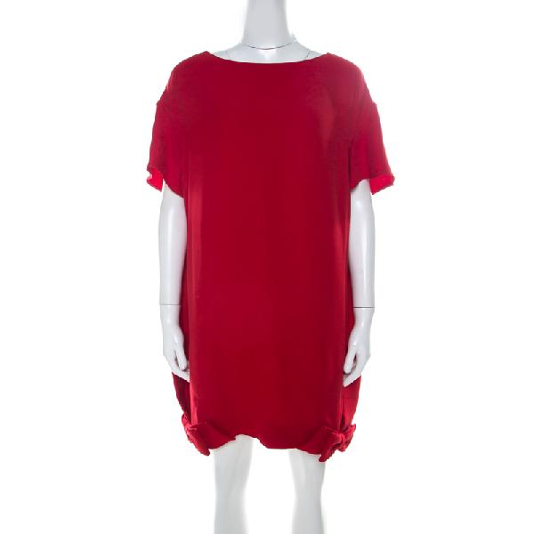 Valentino Red Silk Crepe De Chine Bow Detail Mini Shift Dress L