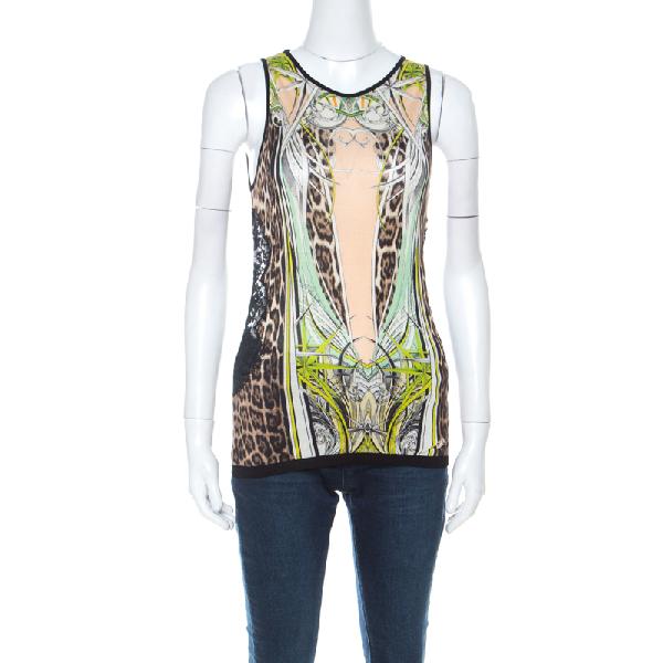 Roberto Cavalli Multicolor Leopard & Graphic Print Silk Jersey Lace Paneled Vest M