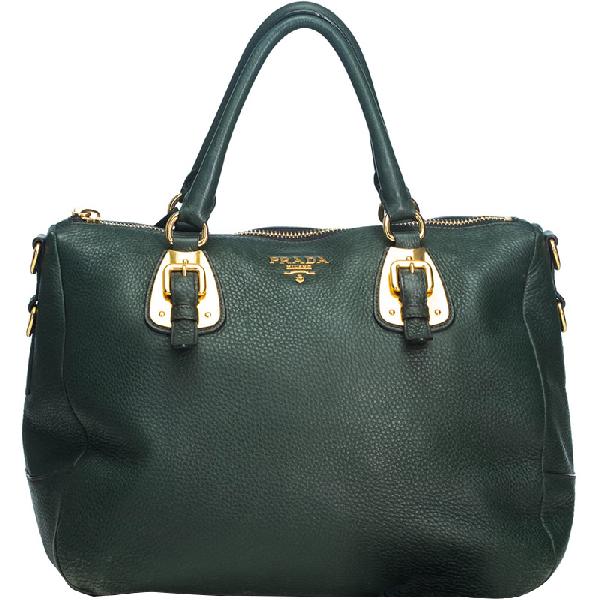 Prada Green Vitello Daino Leather Satchel
