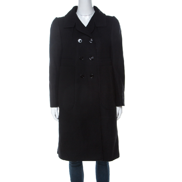 Carven Black Wool Double Breasted Coat L