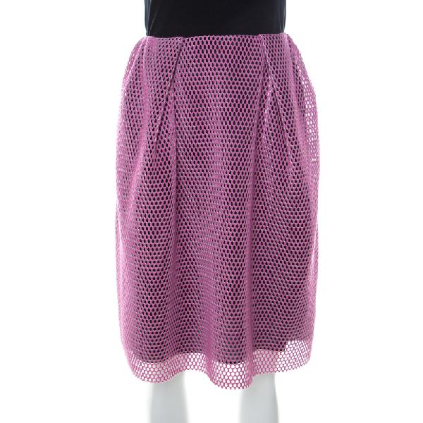 Carven Pink & Black Mesh Layered Skirt M