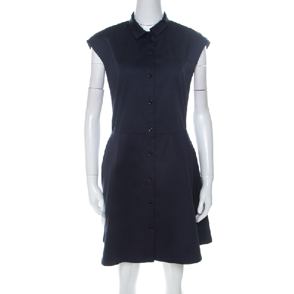Carven Navy Blue Cotton Blend Cap Sleeves A Line Dress M