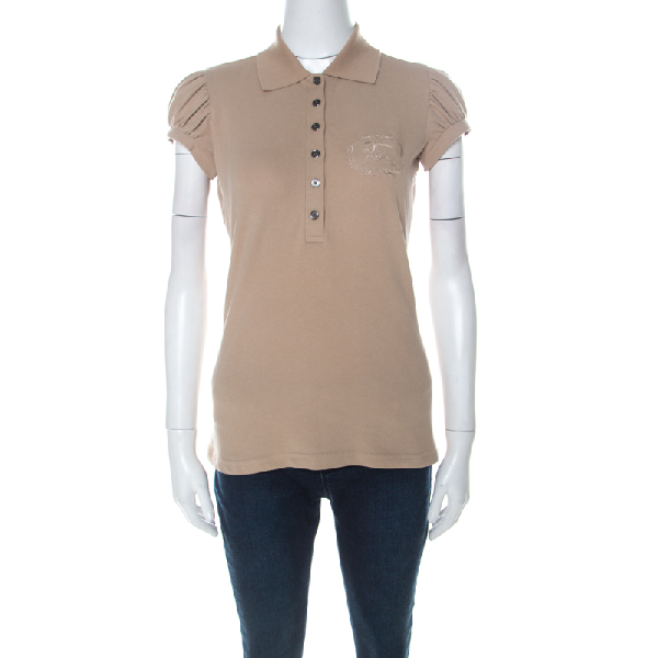 Burberry Beige Cotton Puff Sleeve Polo T-shirt S