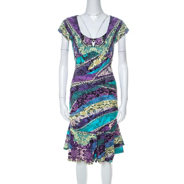 Roberto Cavalli Multicolor Printed Jersey Ruched Peplum Hem Detail Dress S