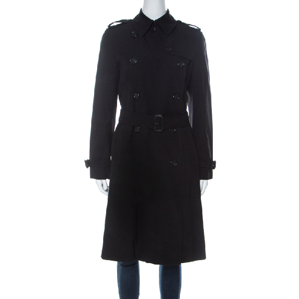 Burberry London Black Cotton Double Breasted Mid Length Trench Coat S