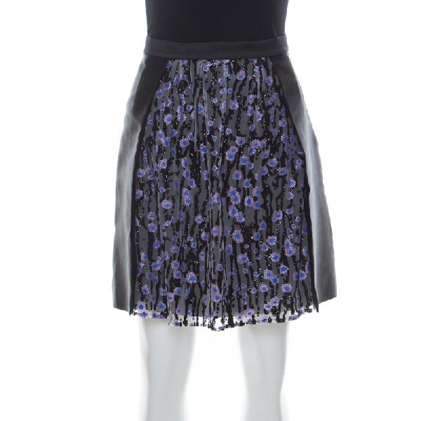 Carven Black Silk Satin And Tulle Embellished Detail Meduse Short Skirt M