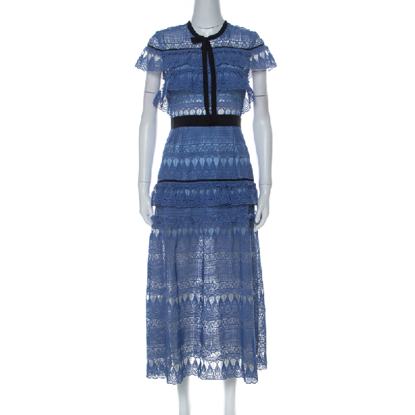Self-portrait Blue Teardrop Guipure Lace Ruffled Daphne Midi Dress M