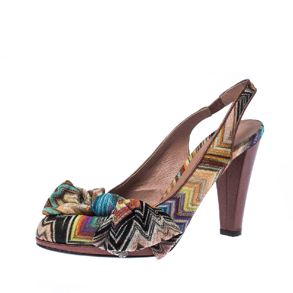 Missoni Multicolor Knit Fabric Bow Slingback Sandals Size 36.5