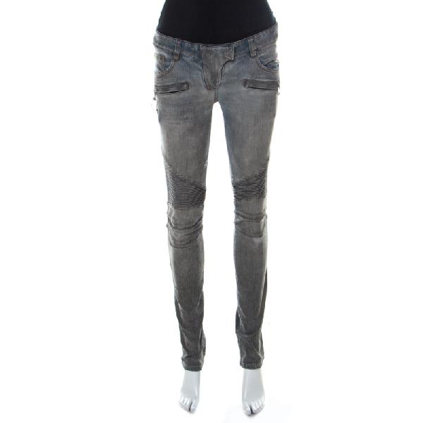 Balmain Grey Washed Denim Pintucked Panel Zip Detail Skinny Jeans S