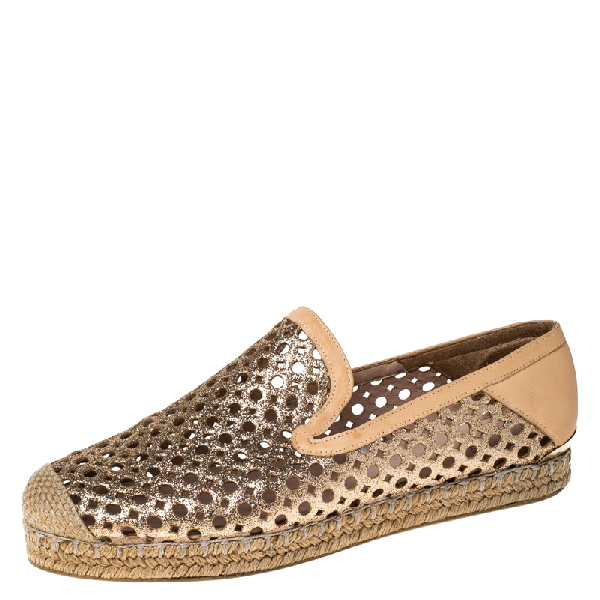 Stuart Weitzman Peach Perforated Glitter Leather Country Espadrille Flats Size 37 In Orange