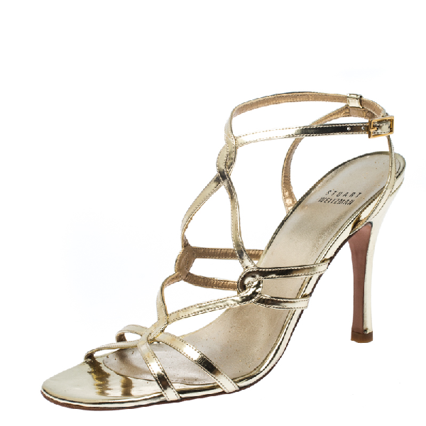 Stuart Weitzman Gold Patent Leather Strappy Sandals Size 38