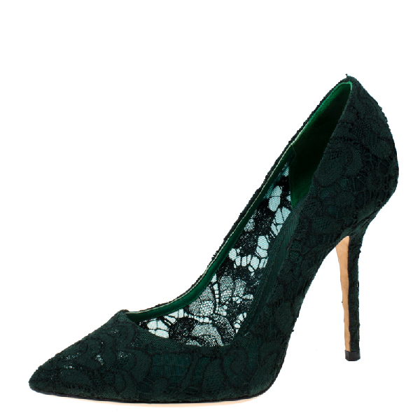 Dolce & Gabbana Green Floral Lace Pointed Toe Pumps Size 39