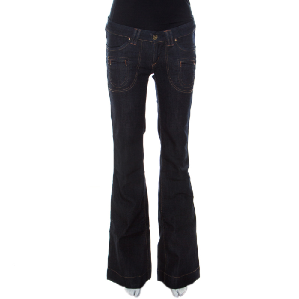 Barbara Bui Indigo Denim Low Rise Flared Jeans S In Navy Blue