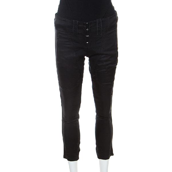 Barbara Bui Black Denim And Silk Paneled Asymmetric Hem Pants S