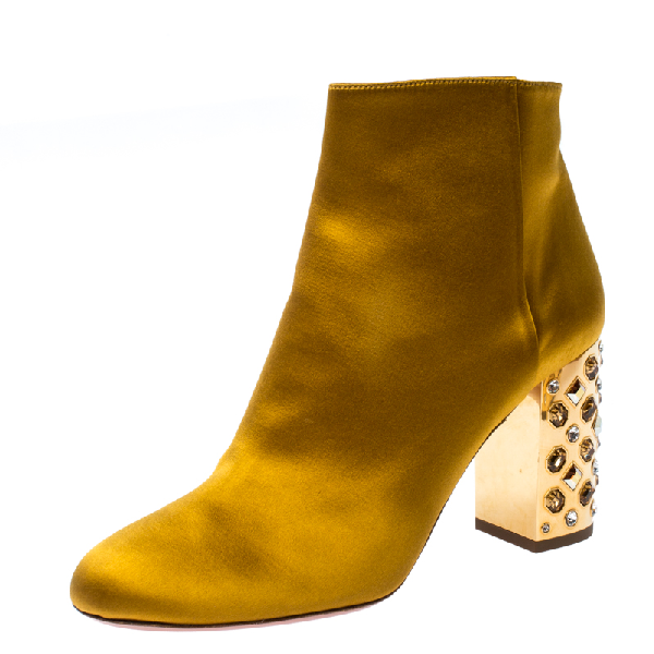 Aquazzura Yellow Satin Party Embellished Heel Ankle Booties Size 39.5
