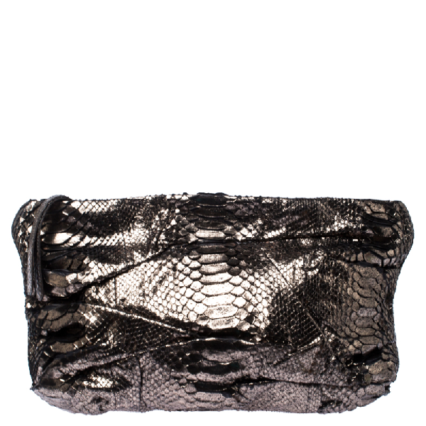 Zagliani Metallic Silver Python Leather Oversized Clutch