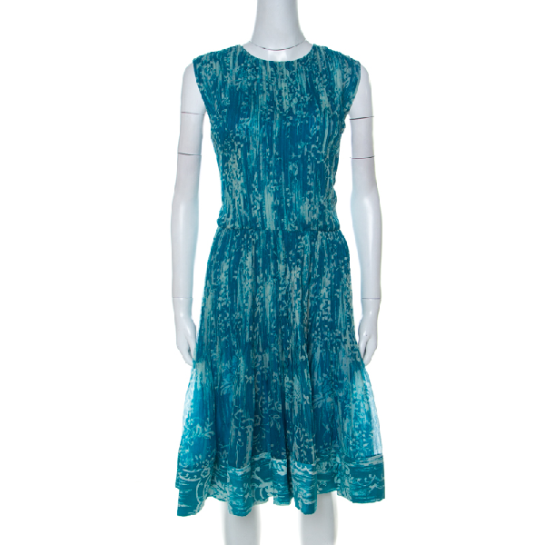 Oscar De La Renta Blue Printed Toile Silk Pleated Sleeveless Dress L