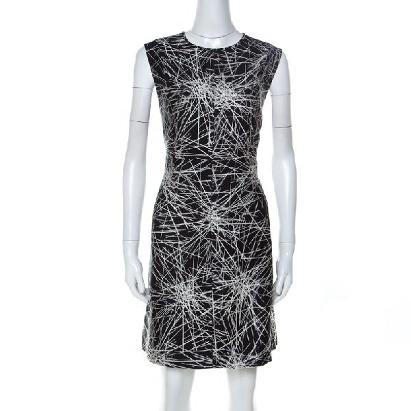 Diane Von Furstenberg Monochrome Printed Wool And Silk Blend Madyson Dress L In Multicolor