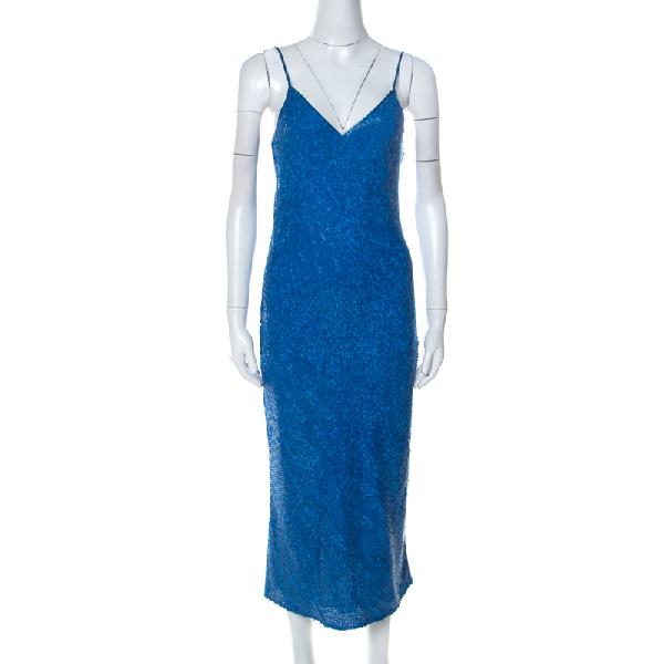 Diane Von Furstenberg Blue Sequinned Havita Slip Dress S