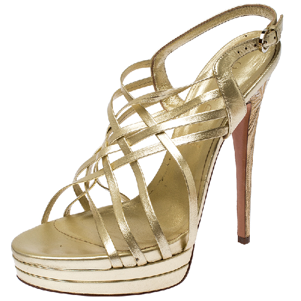 Casadei Gold Leather Strappy Platform Sandals Size 39
