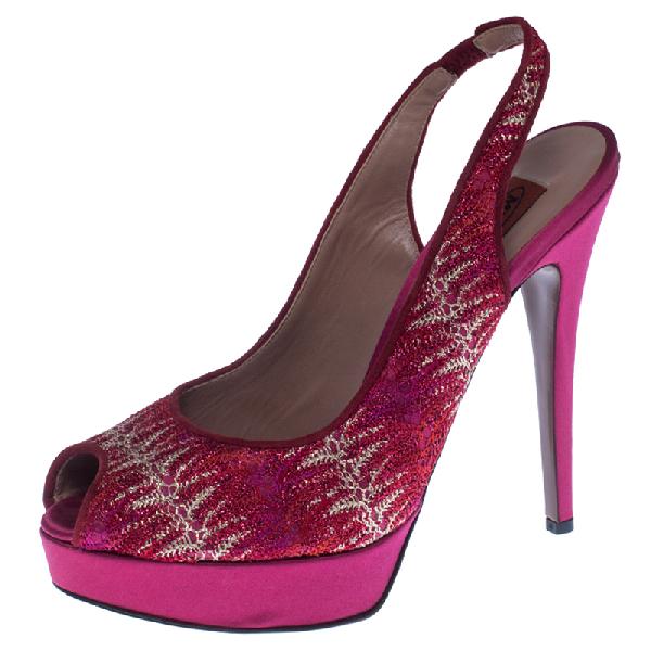 Missoni Pink Lace And Satin Peep Toe Slingback Platform Sandals Size 39