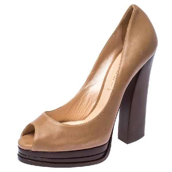 Casadei Dark Beige Leather Peep Toe Wooden Heel Platform Pumps Size 38.5
