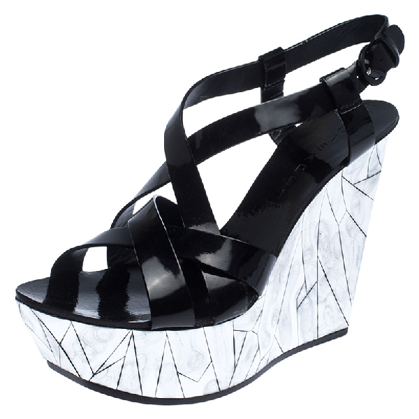 Casadei Black Patent Leather Wedge Platform Strappy Sandals Size 40