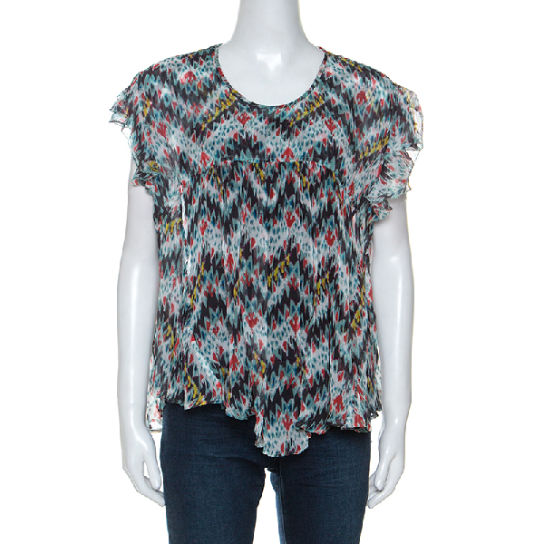 Isabel Marant Multicolor Printed Silk Ruffled Sleeve Top M